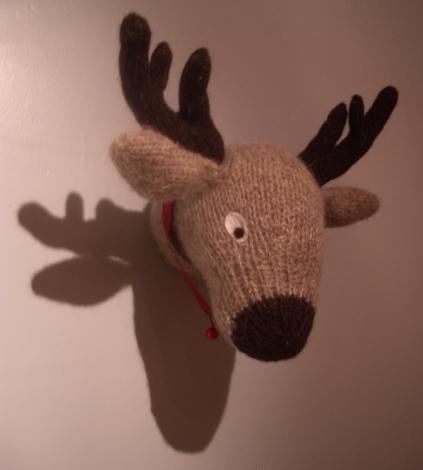 reindeer knitted trophy