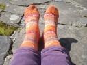 FLK heeled socks, using Drops Fabel yarn